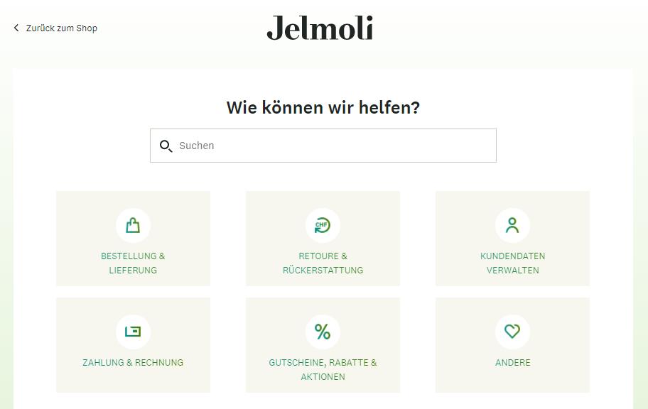 benutzeroberflaeche des zendesk support von jelmoli